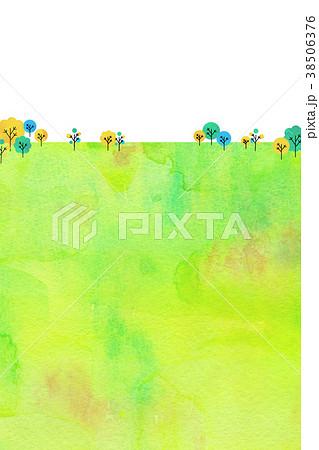 水彩テクスチャー 自然風景 背景素材 38506376