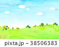 背景素材 木 丘のイラスト 38506383