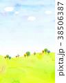 水彩テクスチャー 自然風景 背景素材 38506387