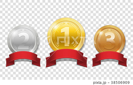 Gold, silver and bronze shiny medals with red 38506909