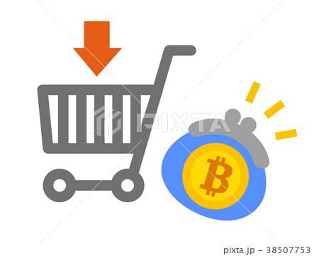 ビットコインとネットショッピングカートのイラスト素材 38507753 Pixta