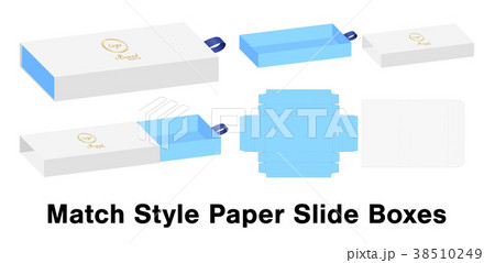 slide box die cut mock up template vector のイラスト素材 38510249