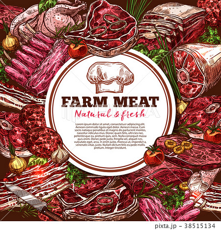 Fresh meat vector poster 38515134