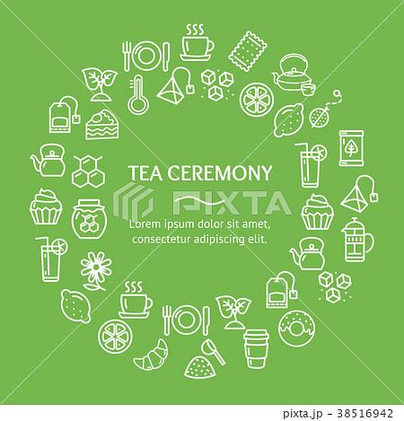 tea ceremony round design template line iconのイラスト素材 38516942