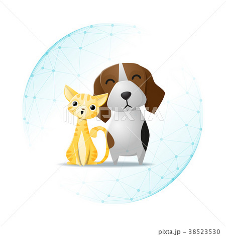 Pet care concept with cat and dog 38523530