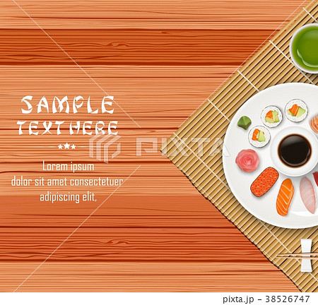 sushi japanese food on wooden table backgroundのイラスト素材