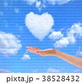 青空に浮かんだハートのような雲 38528432