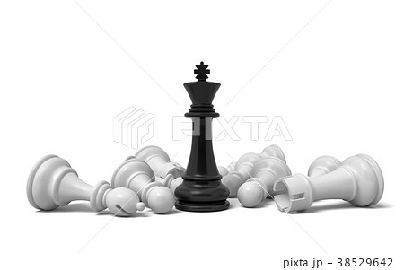 3d rendering of a single black chess king stands 38529642