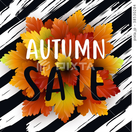 autumn sale flyer template with letteringのイラスト素材 38530284