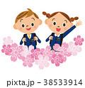 入学 桜 女の子のイラスト 38533914