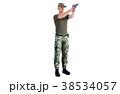 銃を構える男性 軍隊 全身ショット(向き違いあり) 38534057