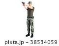 銃を構える男性 軍隊 全身ショット(向き違いあり) 38534059