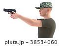 銃を構える男性 軍隊 真横カット(向き違いあり) 38534060