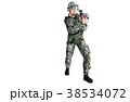 銃を構える男性 コンバット装備 射撃ポーズ 38534072