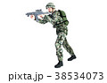 銃を構える男性 コンバット装備 移動射撃ポーズ 38534073