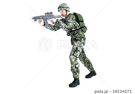 銃を構える男性 コンバット装備 移動射撃ポーズのイラスト素材