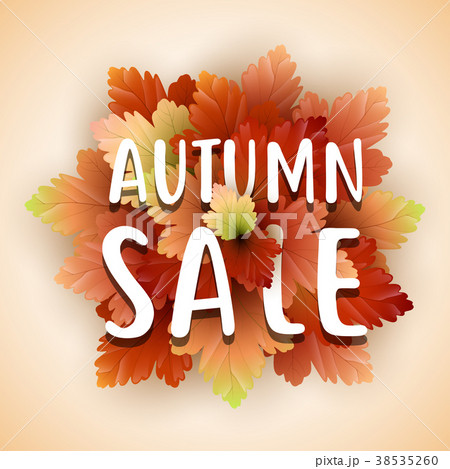 autumn sale flyer template with letteringのイラスト素材 38535260