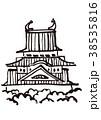 名古屋城 水彩画 38535816