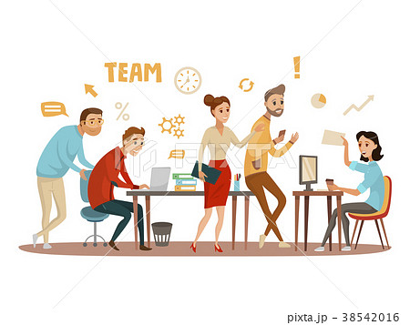 Business People teamwork workers in office working 38542016