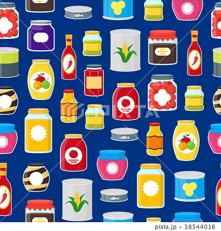 Cartoon Canned and Jar Food Seamless Pattern 38544016