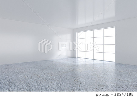 Empty white room with large stained-glass windows 38547199