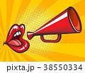 Pop art loudspeaker and lips poster 38550334