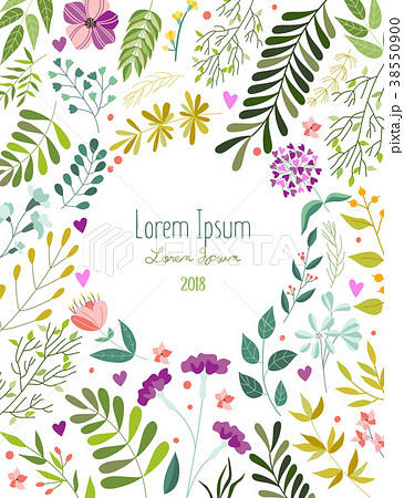 greeting card template with flowers leaves herbsのイラスト素材