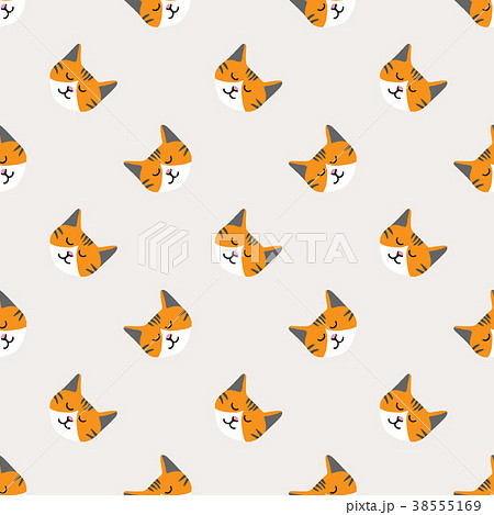 Seamless background nursery cute lovely cat face 38555169