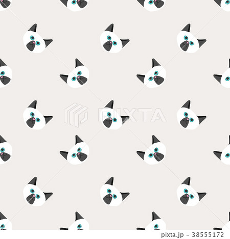 Seamless background nursery cute lovely cat face 38555172