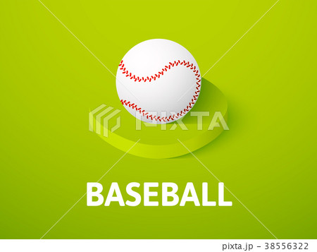 Baseball isometric icon, isolated on color 38556322
