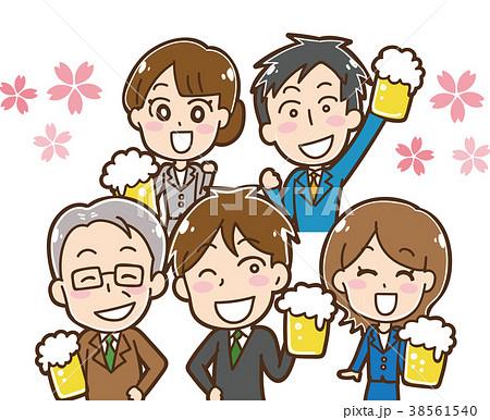 桜と生ビールを持つ会社員のイラスト素材 38561540