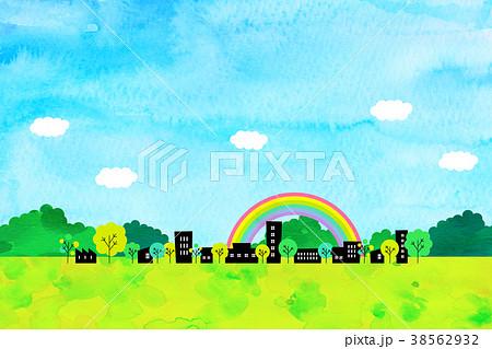 水彩テクスチャー 街並 風景素材 38562932