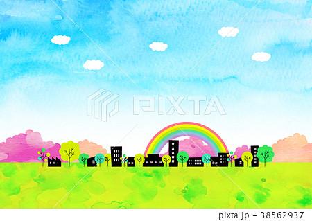 水彩テクスチャー 街並 風景素材 38562937