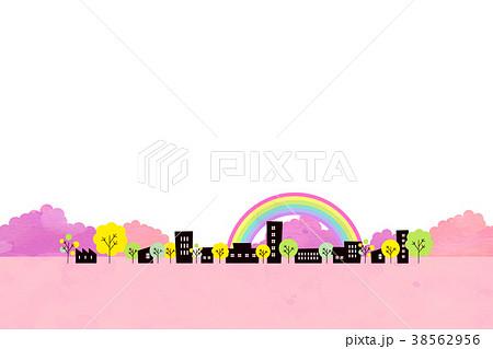 水彩テクスチャー 街並 風景素材 38562956