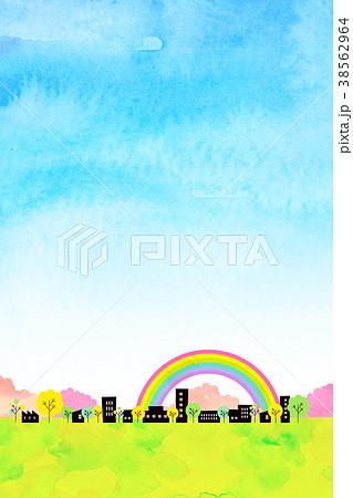 水彩テクスチャー 街並 風景素材 38562964