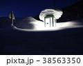 雪に埋もれる公衆電話ボックス(夜)(横) 38563350