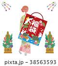福袋をもつ女性 イラスト 38563593