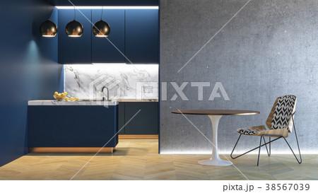 Kitchen blue minimalistic interior. 3d render 38567039