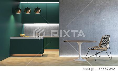 Kitchen green minimalistic interior. 3d render 38567042