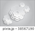 Vector white paper cut flowers on grey background 38567190