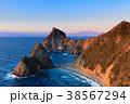 富士山 夕焼け 海の写真 38567294