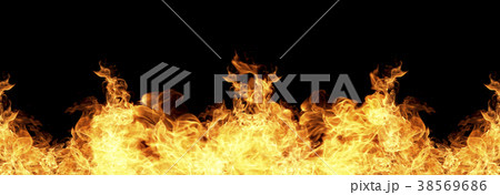 Fire flames on a black background 38569686