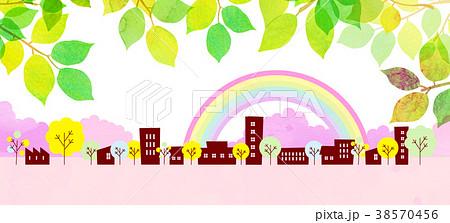 水彩テクスチャー 街並 風景素材 38570456