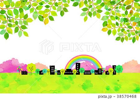 水彩テクスチャー 街並 風景素材 38570468