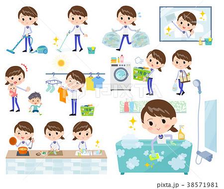 Store staff Blue uniform women_Housekeeping 38571981