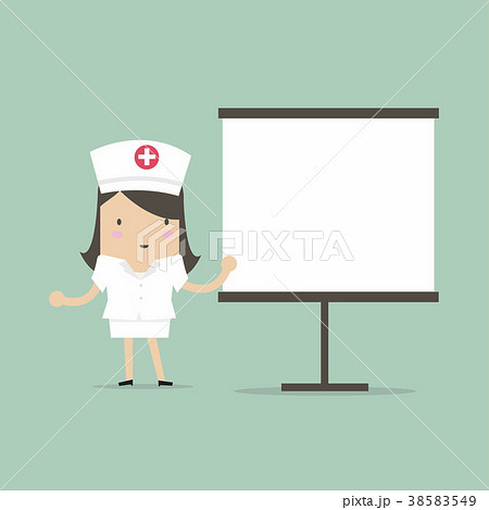 nurse giving medical presentation のイラスト素材 38583549 pixta