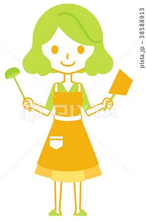 鍋とお玉を持つ女性 38588913