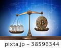 ビットコイン はかり 立体のイラスト 38596344