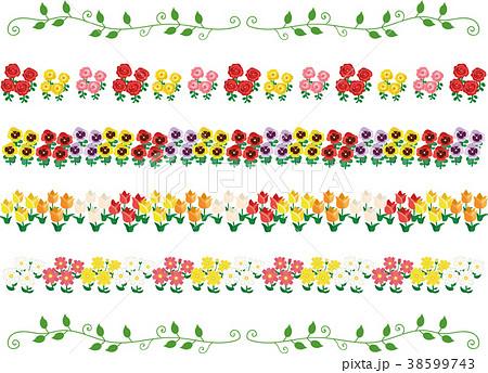 春の花 罫線、ラインセット 38599743