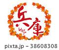 兵庫 筆文字 紅葉 秋 フレーム 38608308